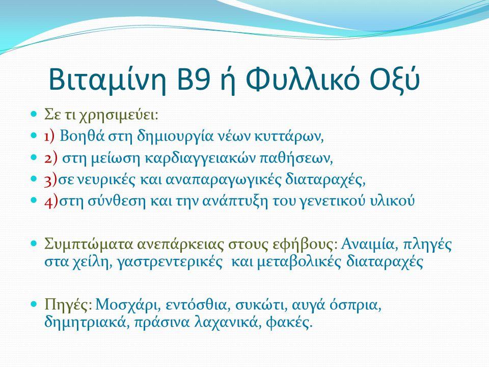 Βιταμίνη Β9 ή Φυλλικό Οξύ