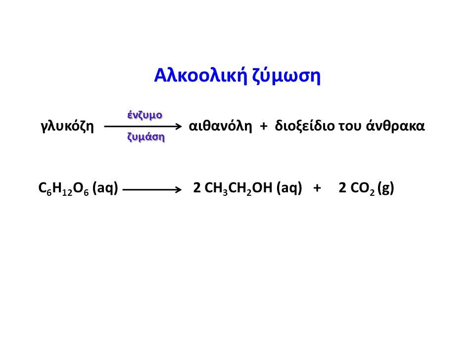 Αλκοολική ζύμωση C6H12O6 (aq) 2 CH3CH2OH (aq) + 2 CO2 (g)