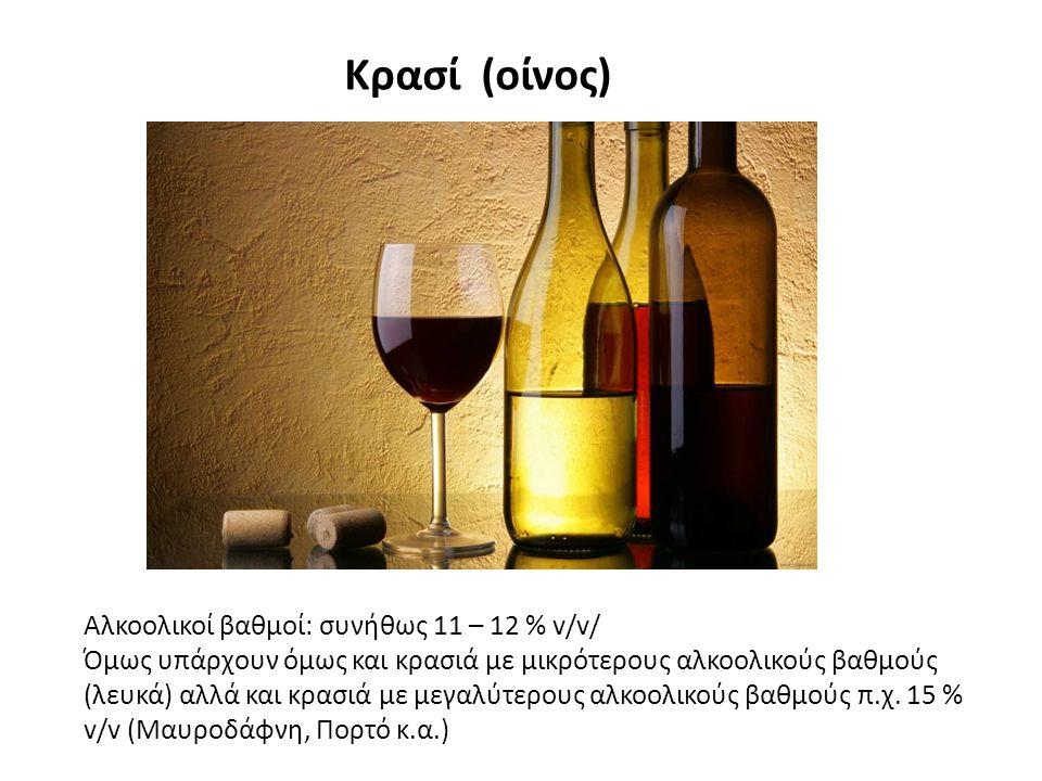 Κρασί (οίνος) Αλκοολικοί βαθμοί: συνήθως 11 – 12 % v/v/
