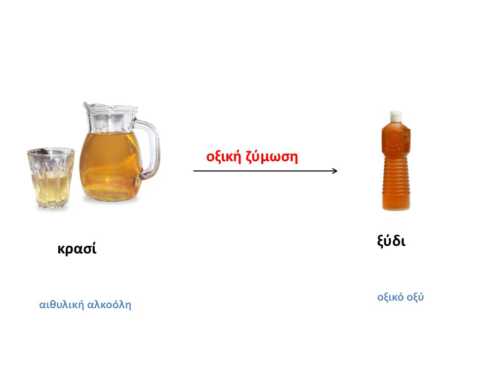 οξική ζύμωση ξύδι οξικό οξύ κρασί αιθυλική αλκοόλη