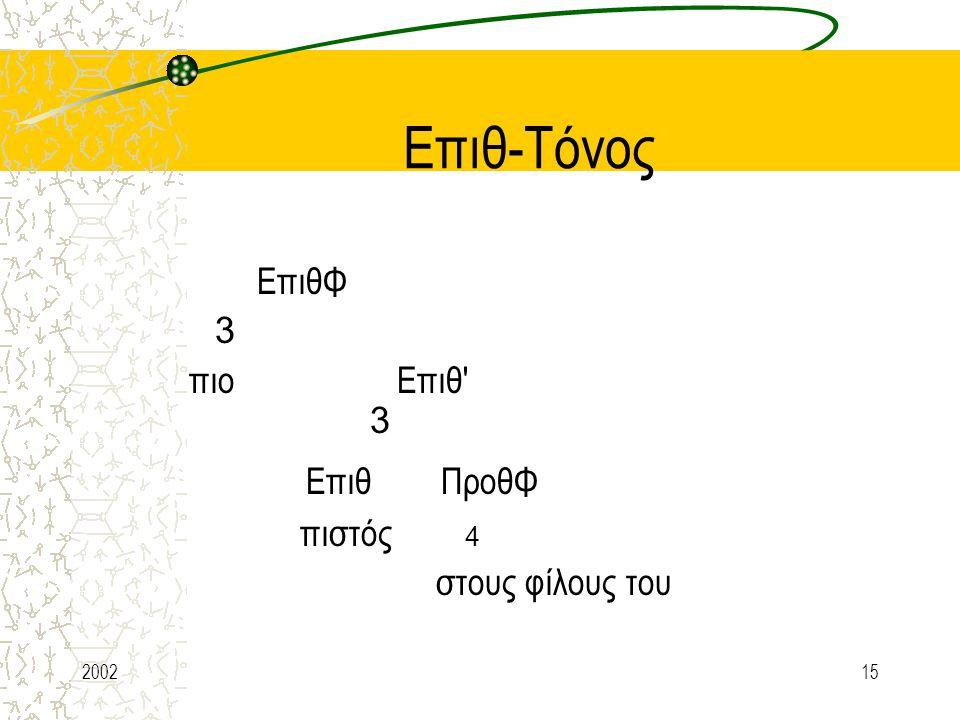 Επιθ-Τόνος Επιθ ΠροθΦ ΕπιθΦ 3 πιο Επιθ 3 πιστός 4 στους φίλους του