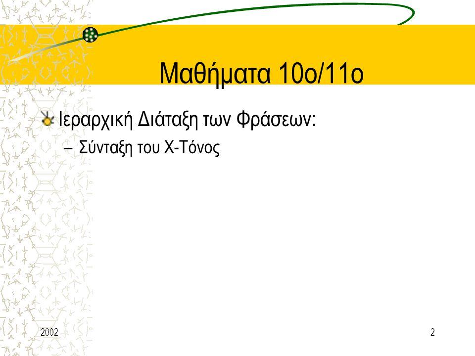 Μαθήματα 10ο/11ο Ιεραρχική Διάταξη των Φράσεων: Σύνταξη του Χ-Τόνος