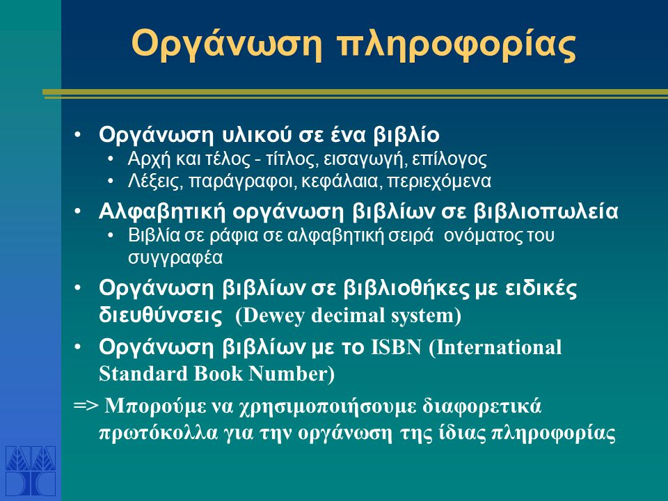 Οργάνωση πληροφορίας Οργάνωση υλικού σε ένα βιβλίο