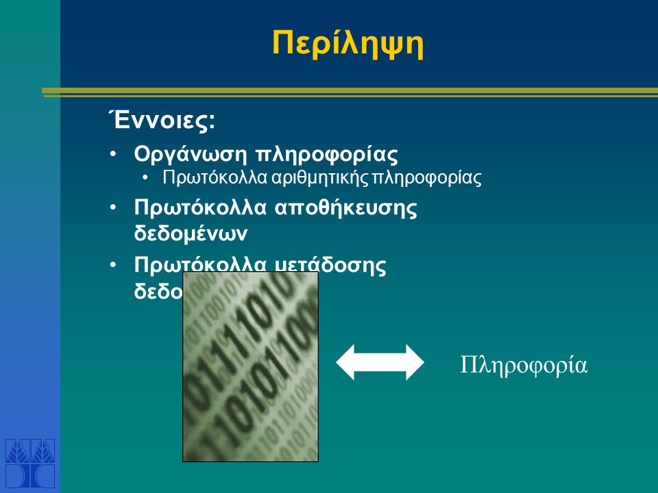 Περίληψη Έννοιες: Πληροφορία Οργάνωση πληροφορίας