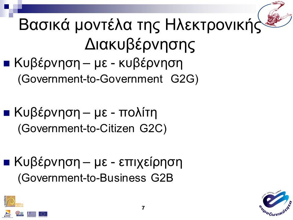 Βασικά μοντέλα της Ηλεκτρονικής Διακυβέρνησης