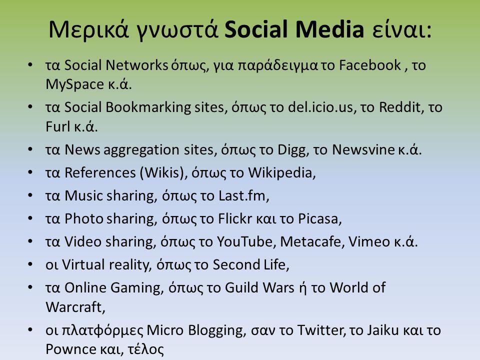 Μερικά γνωστά Social Media είναι: