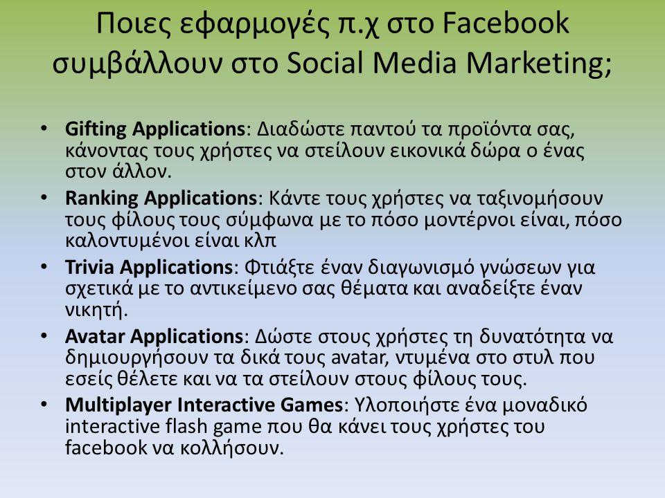 Ποιες εφαρμογές π.χ στο Facebook συμβάλλουν στο Social Media Marketing;
