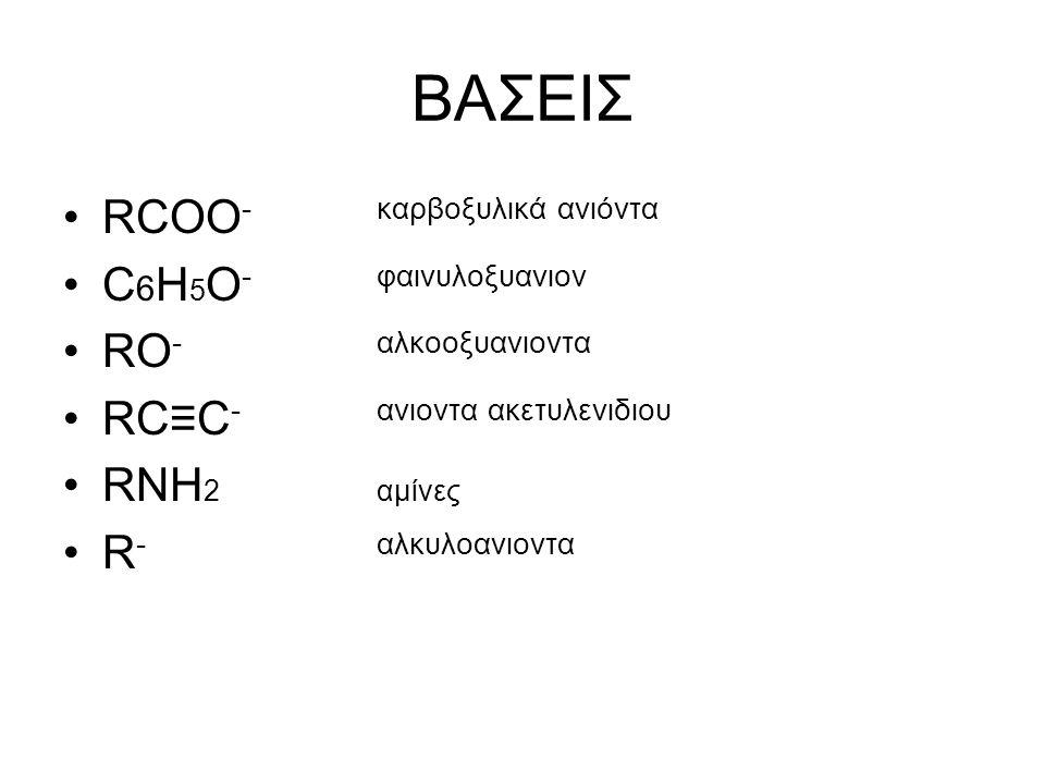 BAΣΕΙΣ RCOO- καρβοξυλικά ανιόντα C6H5O- φαινυλοξυανιον