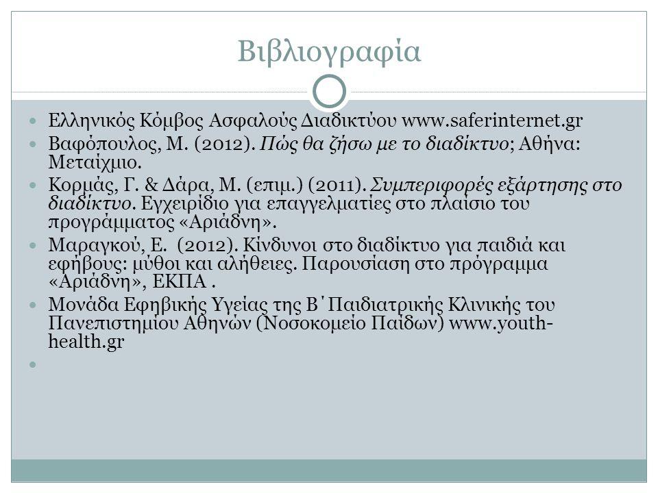 Βιβλιογραφία Ελληνικός Κόμβος Ασφαλούς Διαδικτύου www.saferinternet.gr