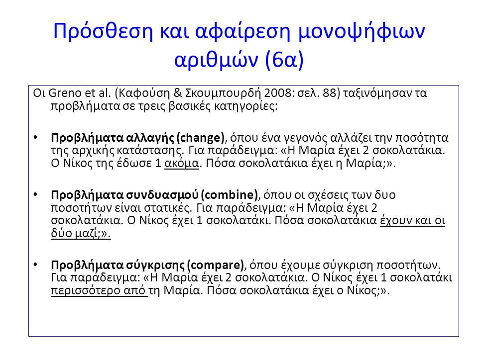 Πρόσθεση και αφαίρεση μονοψήφιων αριθμών (6α)