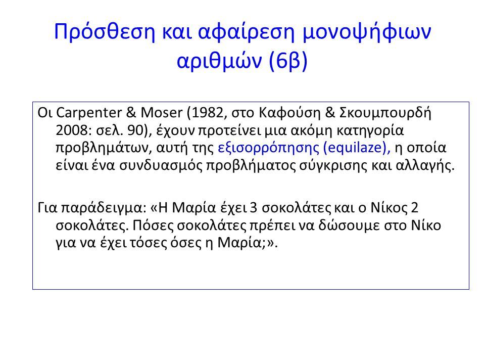 Πρόσθεση και αφαίρεση μονοψήφιων αριθμών (6β)