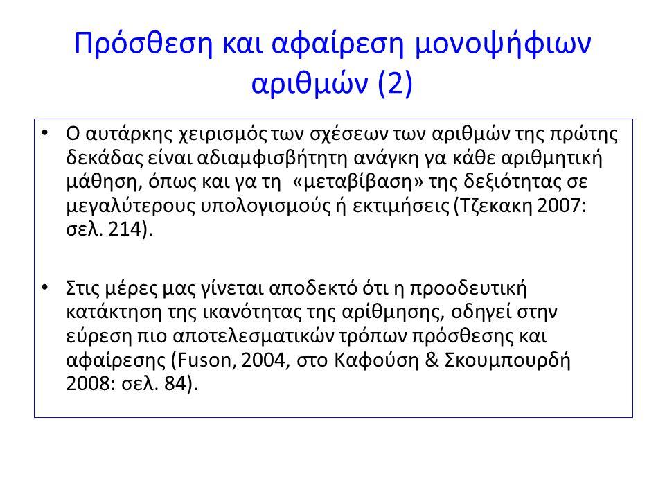 Πρόσθεση και αφαίρεση μονοψήφιων αριθμών (2)