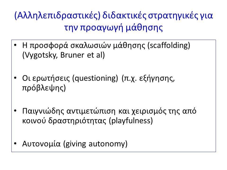 (Αλληλεπιδραστικές) διδακτικές στρατηγικές για την προαγωγή μάθησης