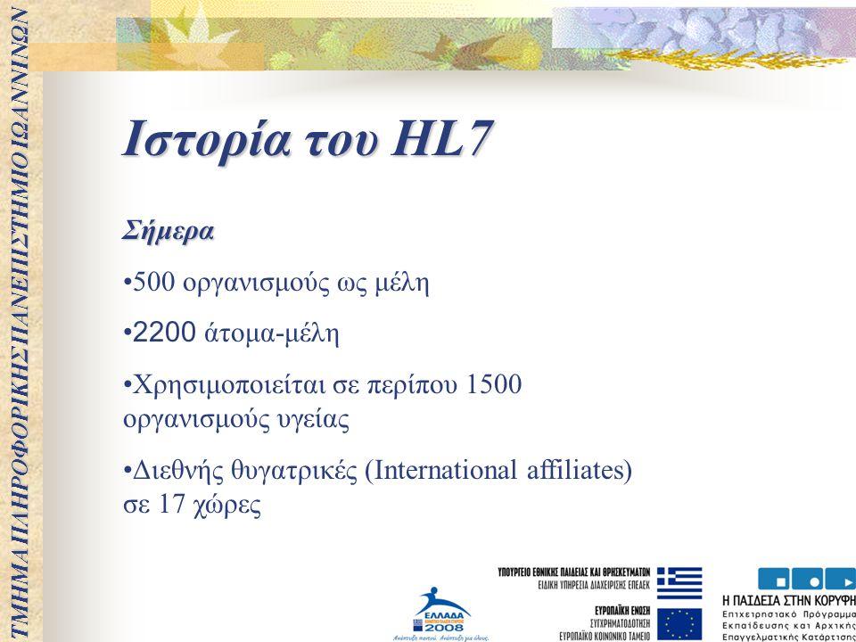 Ιστορία του HL7 Σήμερα 500 οργανισμούς ως μέλη 2200 άτομα-μέλη