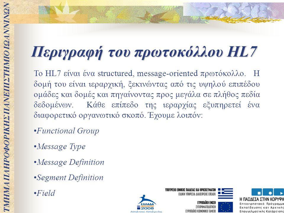 Περιγραφή του πρωτοκόλλου HL7
