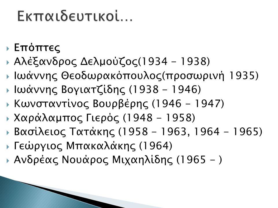 Εκπαιδευτικοί… Επόπτες Αλέξανδρος Δελμούζος(1934 - 1938)