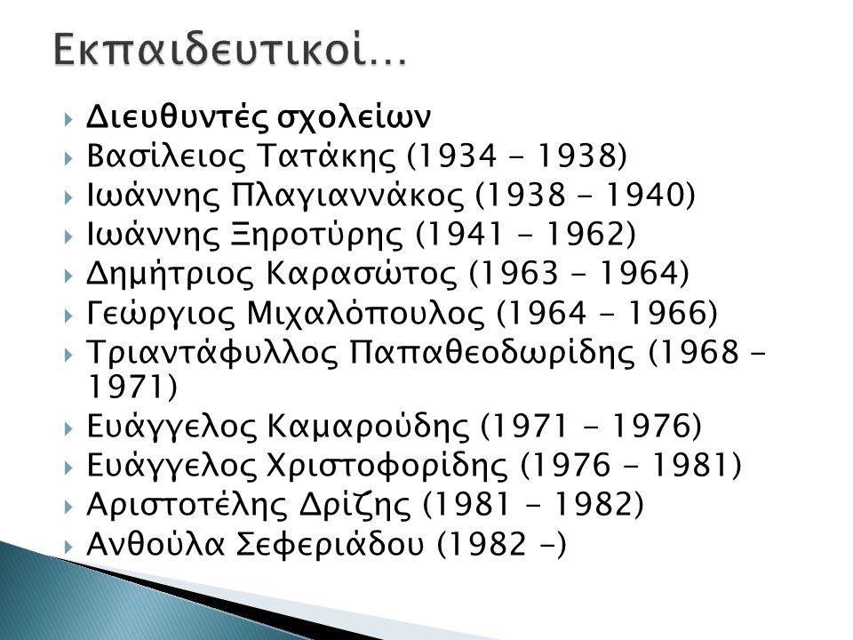 Εκπαιδευτικοί… Διευθυντές σχολείων Βασίλειος Τατάκης (1934 - 1938)