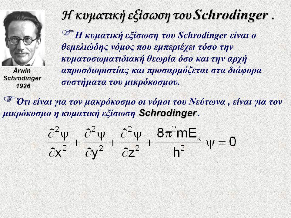 Η κυματική εξίσωση του Schrodinger .