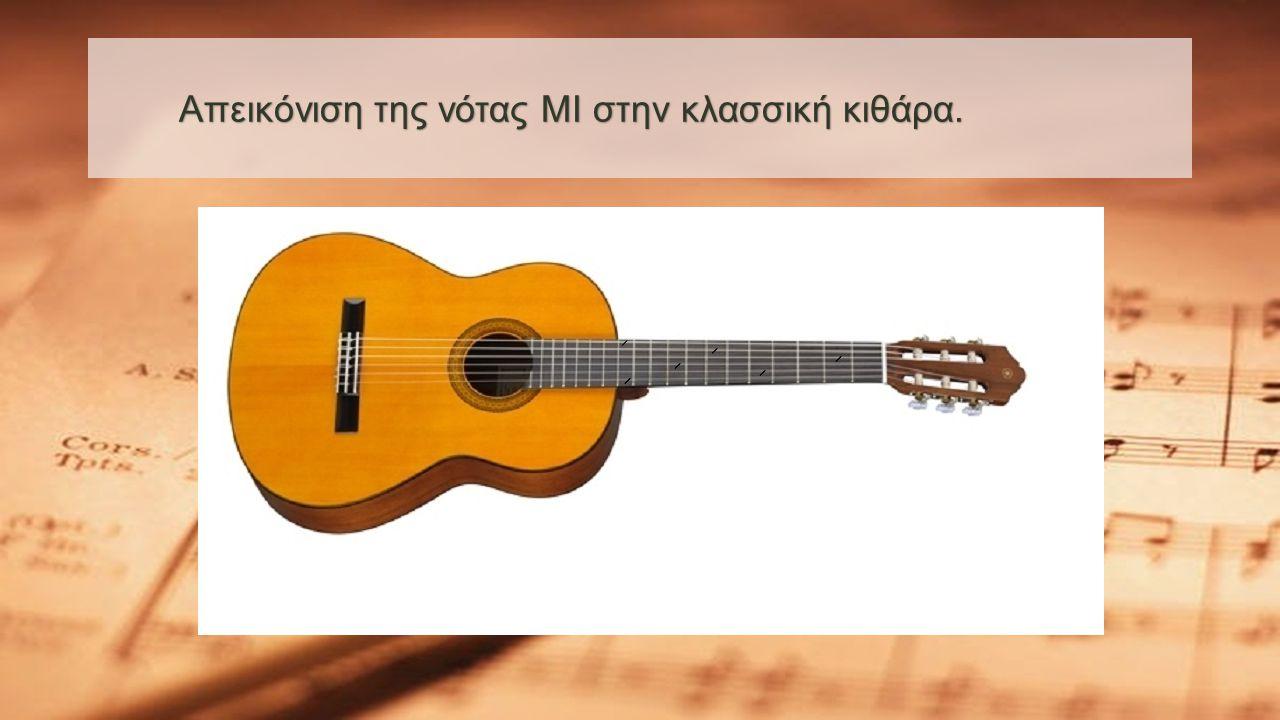Απεικόνιση της νότας ΜΙ στην κλασσική κιθάρα.