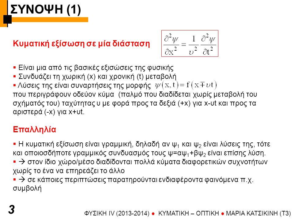 ΣΥΝΟΨΗ (1) 3 Κυματική εξίσωση σε μία διάσταση Επαλληλία