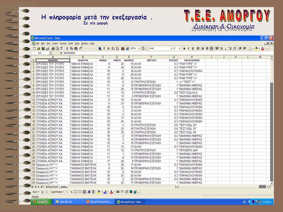 Η πληροφορία μετά την επεξεργασία . Σε xls μορφή