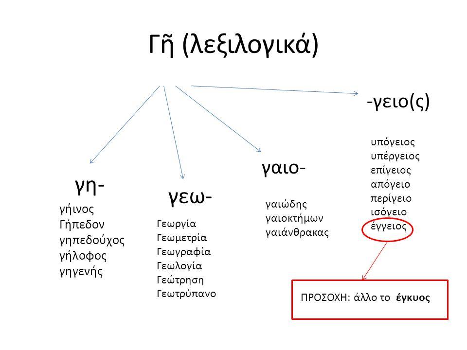 Γῆ (λεξιλογικά) γη- γεω- -γειο(ς) γαιο- γήινος Γήπεδον γηπεδούχος