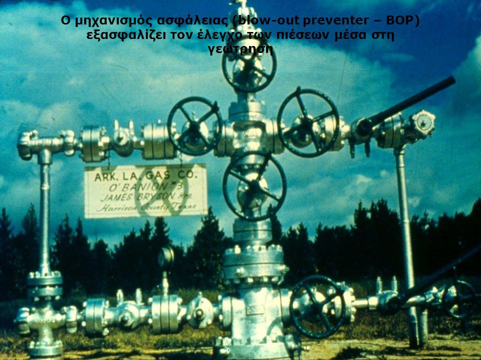 Ο μηχανισμός ασφάλειας (blow-out preventer – BOP) εξασφαλίζει τον έλεγχο των πιέσεων μέσα στη γεώτρηση