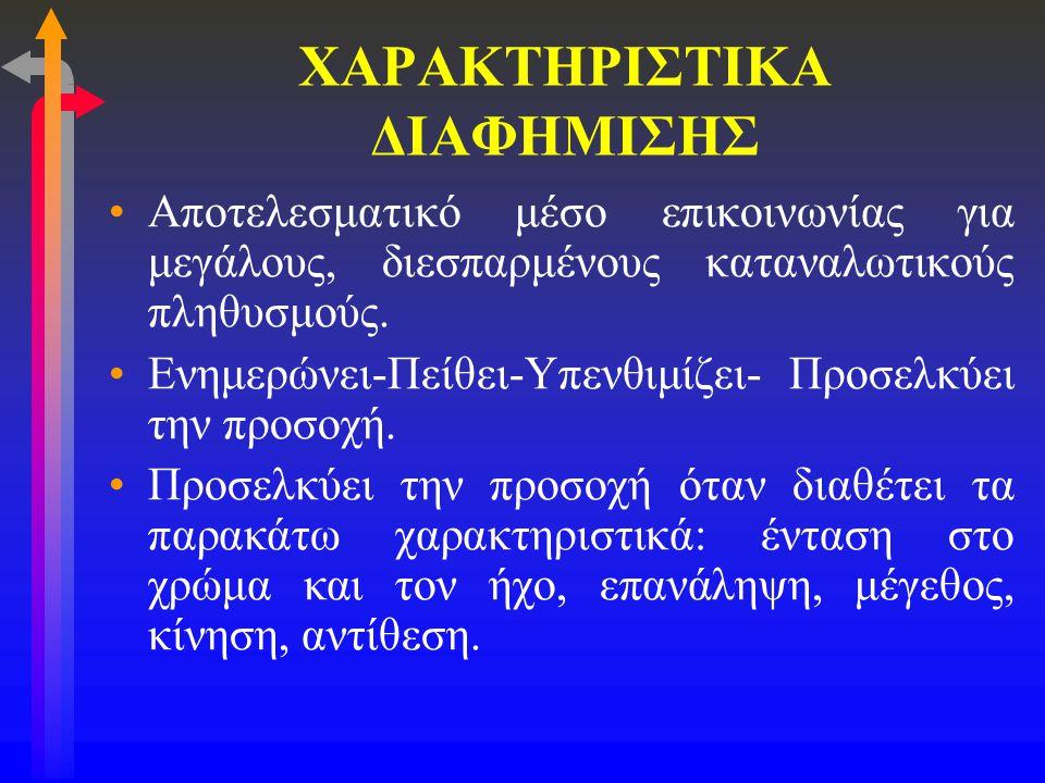 ΧΑΡΑΚΤΗΡΙΣΤΙΚΑ ΔΙΑΦΗΜΙΣΗΣ