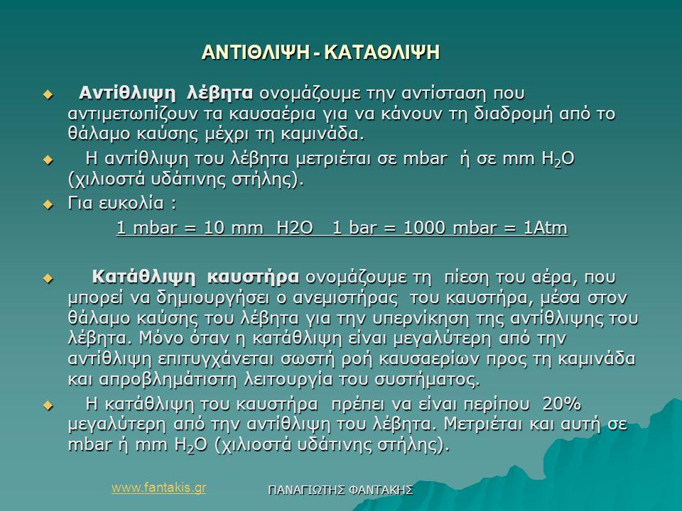 1 mbar = 10 mm Η2Ο 1 bar = 1000 mbar = 1Αtm