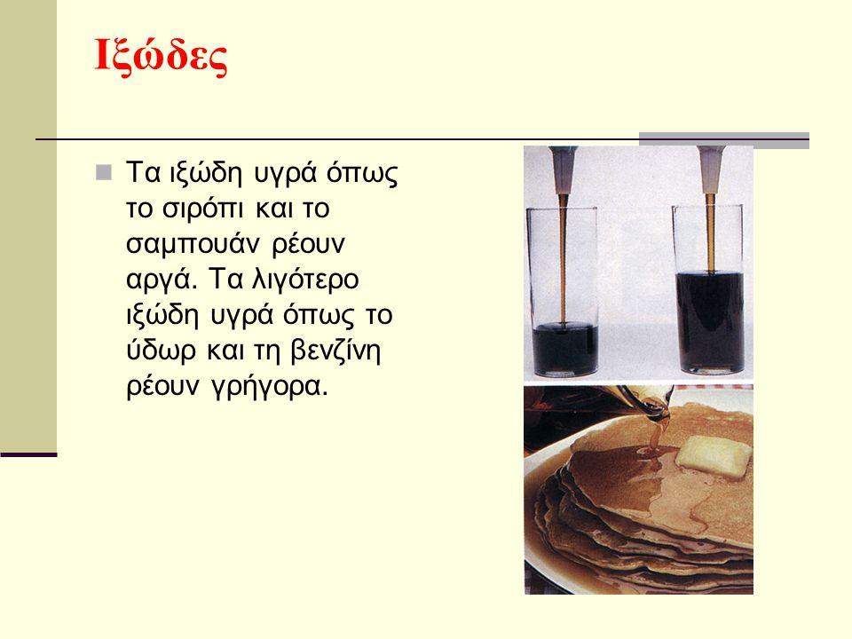 Ιξώδες Τα ιξώδη υγρά όπως το σιρόπι και το σαμπουάν ρέουν αργά.