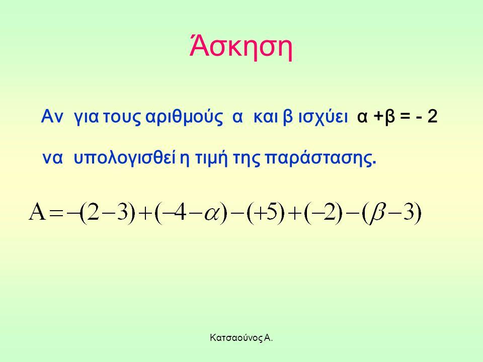 Άσκηση Αν για τους αριθμούς α και β ισχύει α +β = - 2