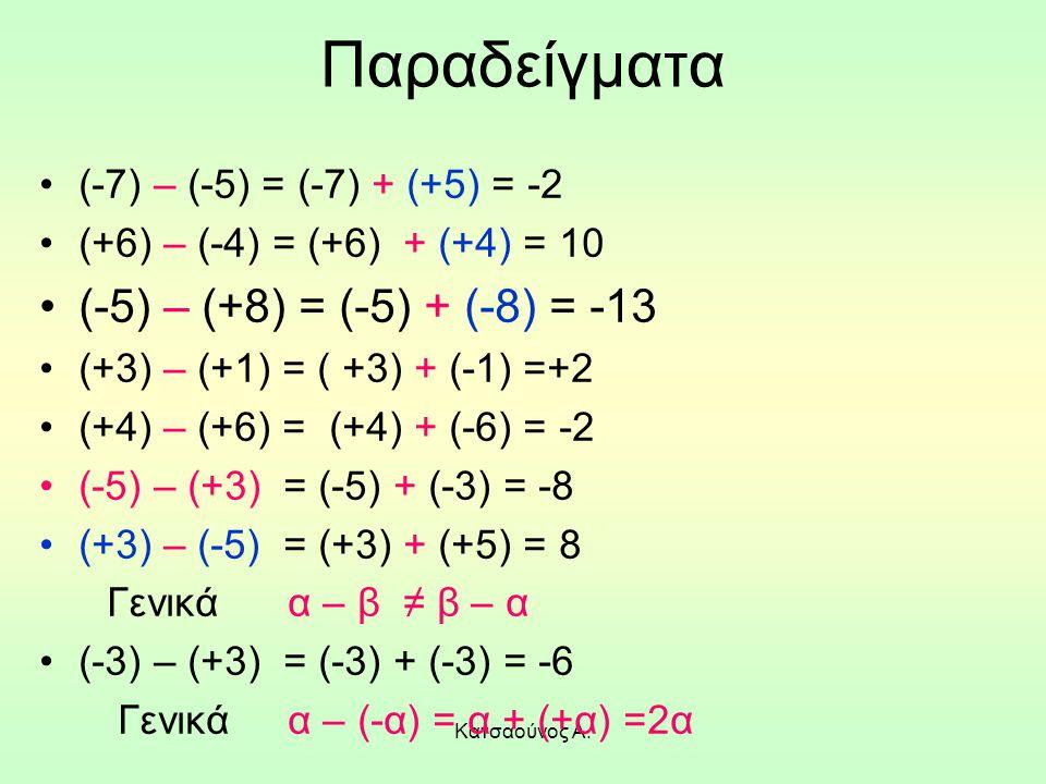 Παραδείγματα (-5) – (+8) = (-5) + (-8) = -13