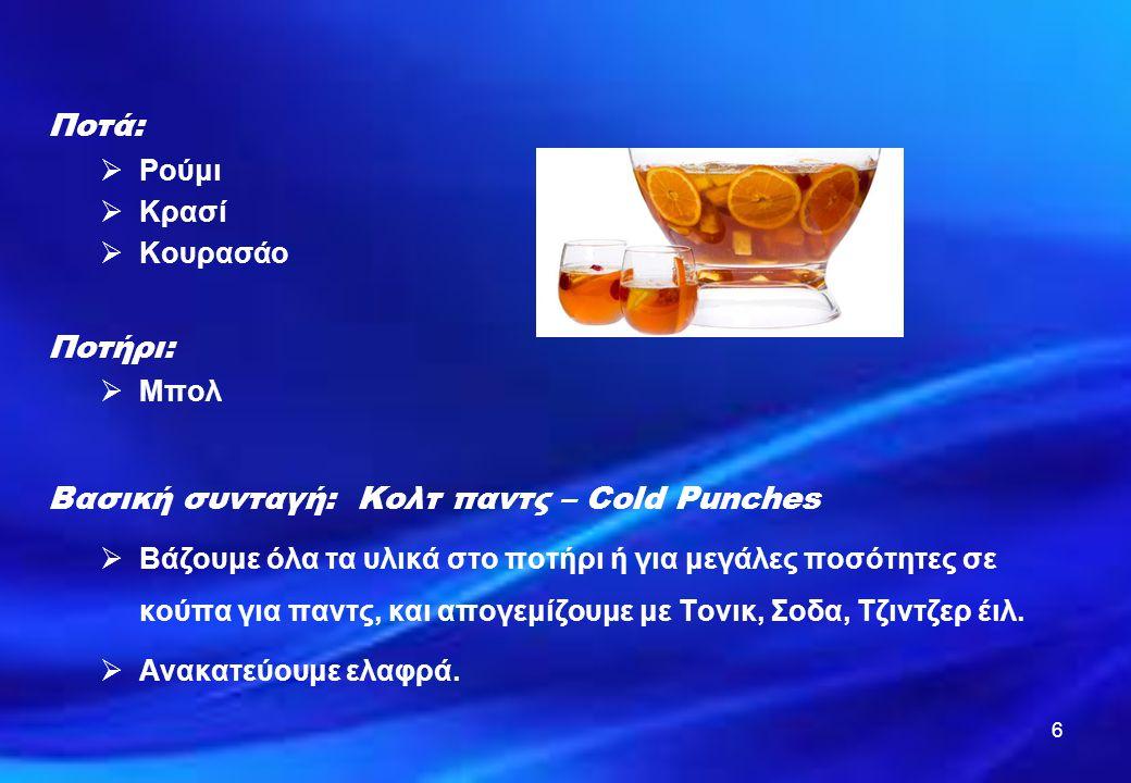 Ποτά: Ποτήρι: Βασική συνταγή: Κολτ παντς – Cold Punches Ρούμι Κρασί