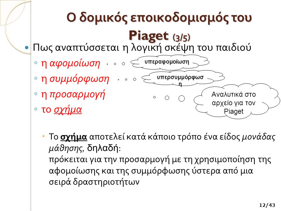 Ο δομικός εποικοδομισμός του Piaget (3/5)