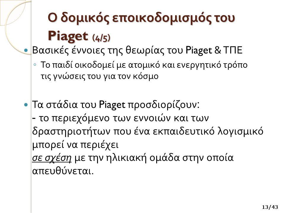 Ο δομικός εποικοδομισμός του Piaget (4/5)