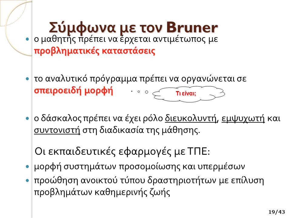 Σύμφωνα με τον Bruner Οι εκπαιδευτικές εφαρμογές με ΤΠΕ: