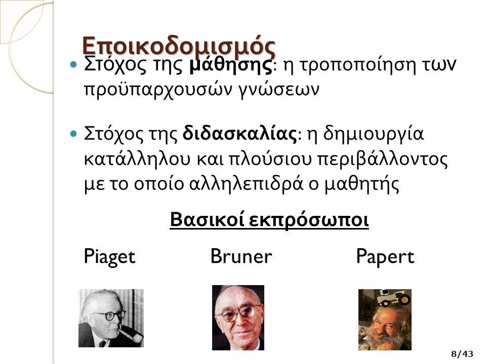 Εποικοδομισμός Βασικοί εκπρόσωποι Piaget Bruner Papert