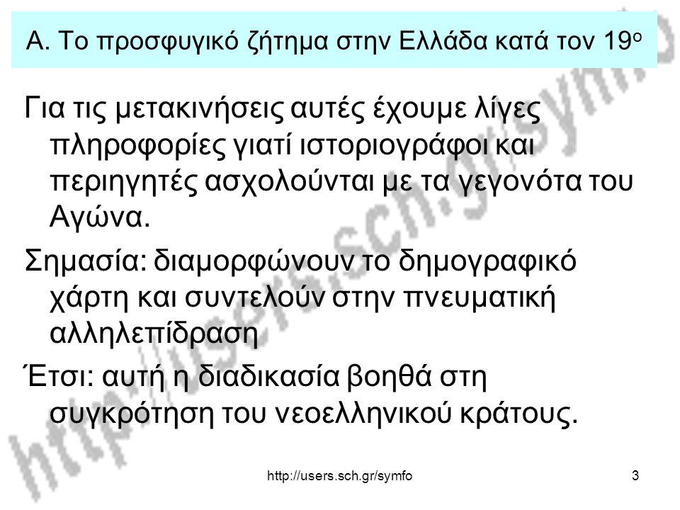 Α. Το προσφυγικό ζήτημα στην Ελλάδα κατά τον 19ο