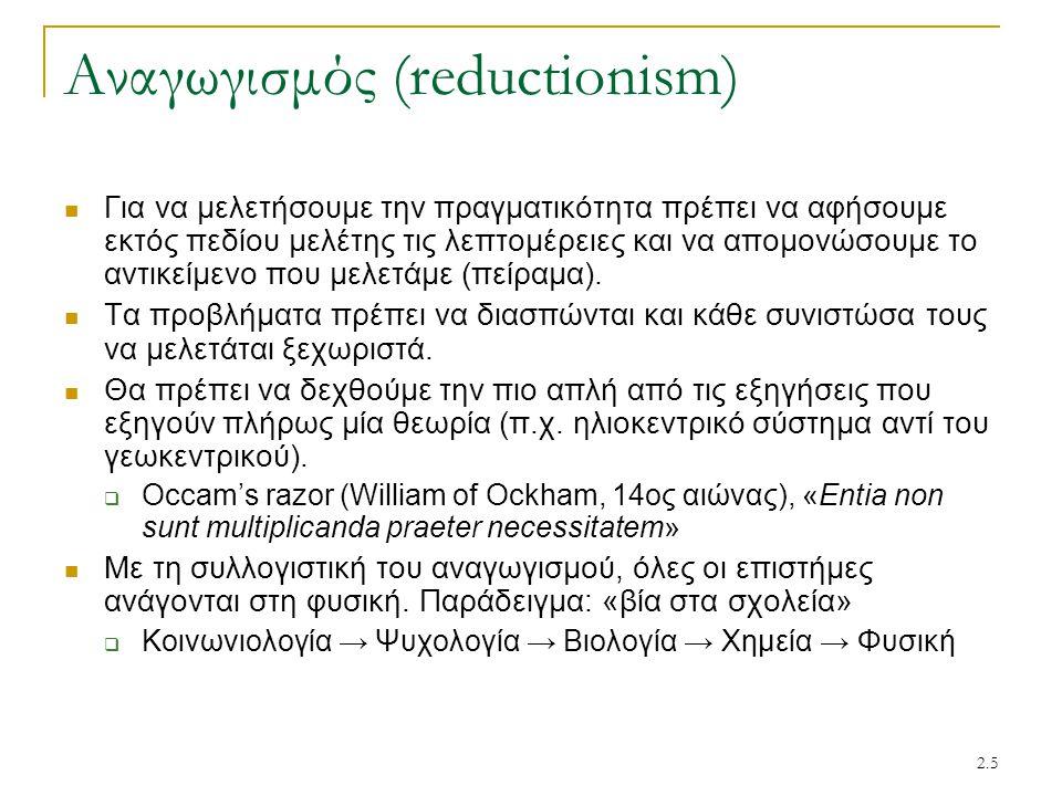 Αναγωγισμός (reductionism)