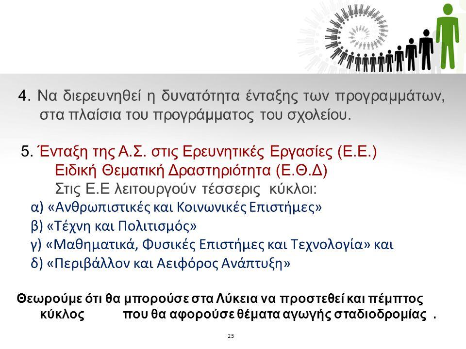 5. Ένταξη της Α.Σ. στις Ερευνητικές Εργασίες (Ε.Ε.)