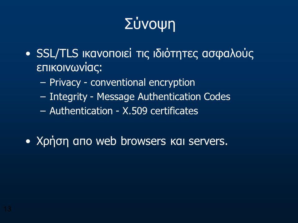 Σύνοψη SSL/TLS ικανοποιεί τις ιδιότητες ασφαλούς επικοινωνίας: