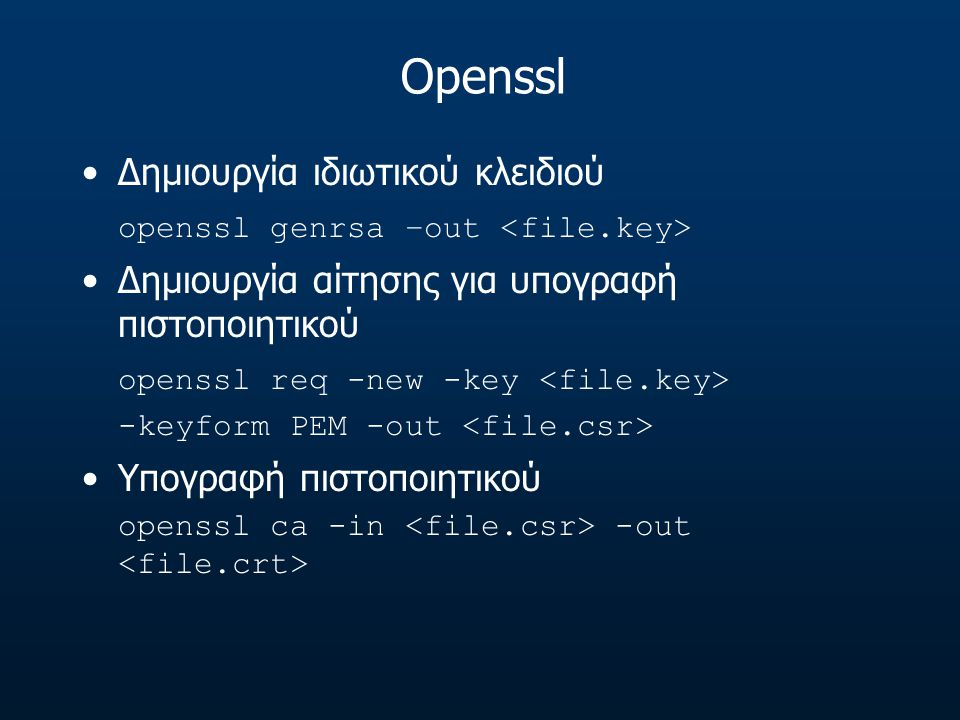 Openssl Δημιουργία ιδιωτικού κλειδιού
