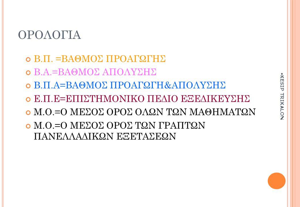 ΟΡΟΛΟΓΙΑ Β.Π. =ΒΑΘΜΟΣ ΠΡΟΑΓΩΓΗΣ Β.Α.=ΒΑΘΜΟΣ ΑΠΟΛΥΣΗΣ