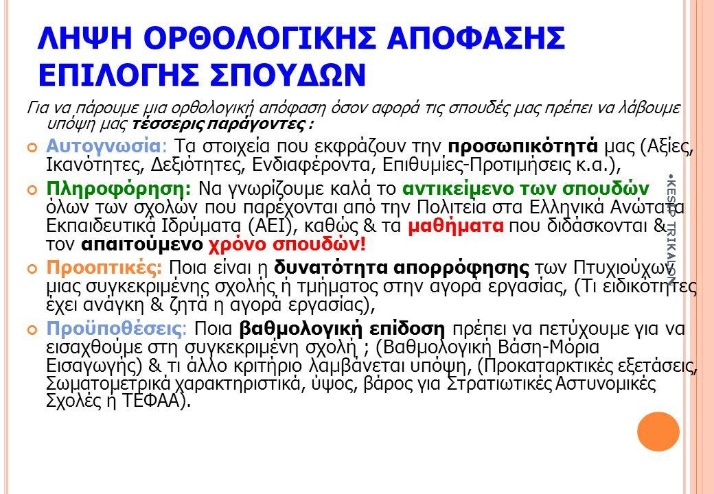 ΛΗΨΗ ΟΡΘΟΛΟΓΙΚΗΣ ΑΠΟΦΑΣΗΣ ΕΠΙΛΟΓΗΣ ΣΠΟΥΔΩΝ