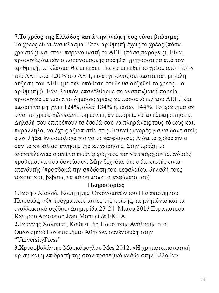 7.Το χρέος της Ελλάδας κατά την γνώμη σας είναι βιώσιμο;
