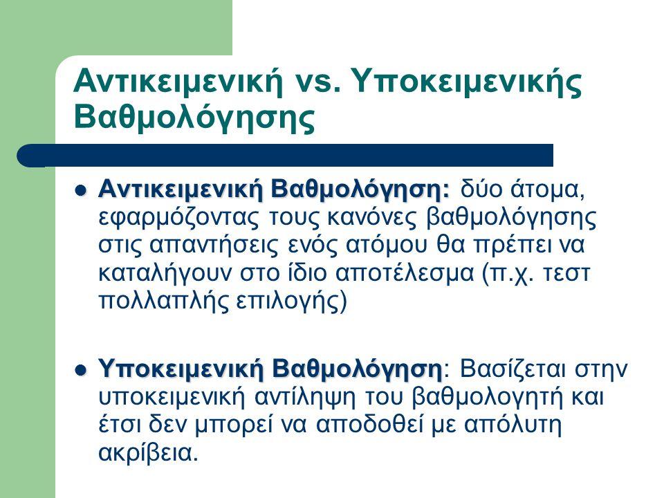 Αντικειμενική vs. Υποκειμενικής Βαθμολόγησης