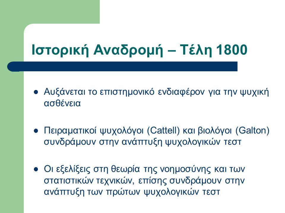 Ιστορική Αναδρομή – Τέλη 1800