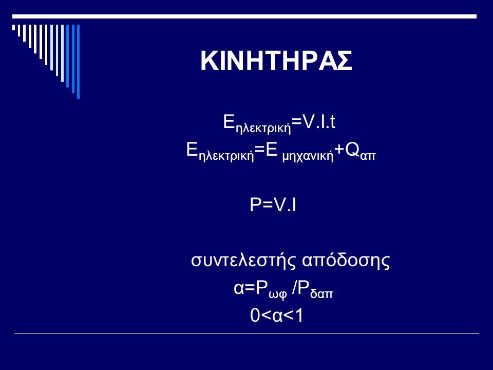 ΚΙΝΗΤΗΡΑΣ Eηλεκτρική=V.I.t Eηλεκτρική=Ε μηχανική+Qαπ P=V.I