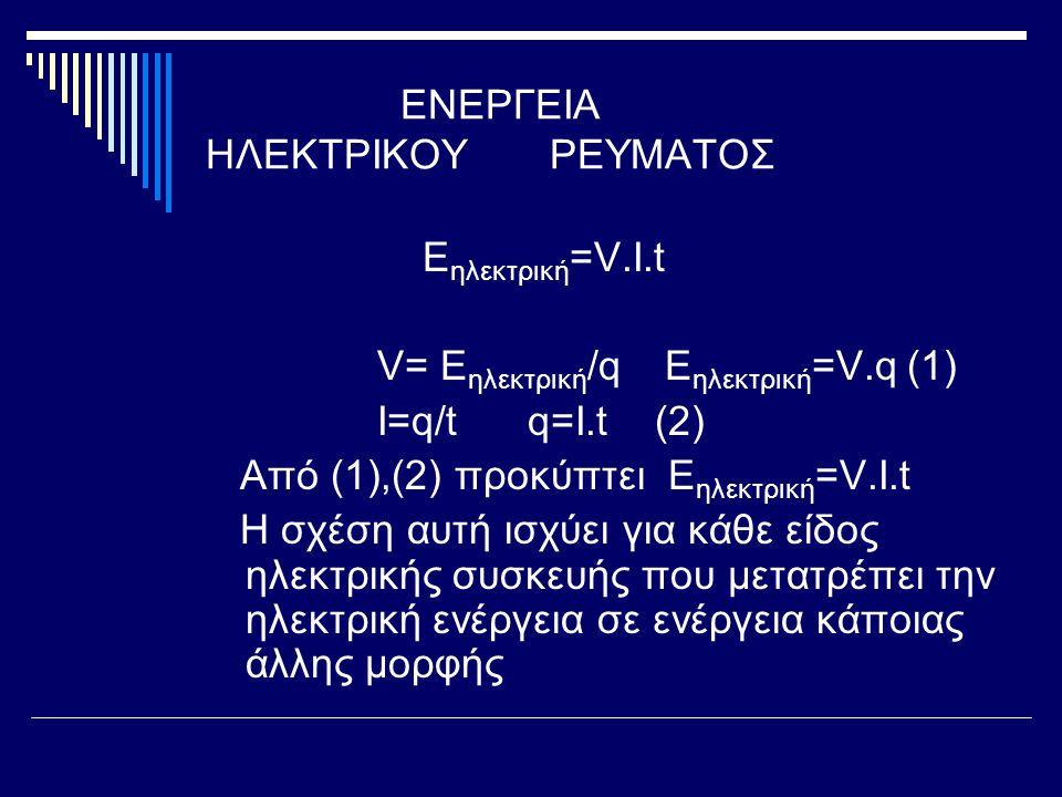 ΕΝΕΡΓΕΙΑ ΗΛΕΚΤΡΙΚΟΥ ΡΕΥΜΑΤΟΣ