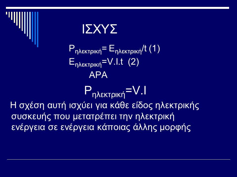 ΙΣΧΥΣ Pηλεκτρική= Eηλεκτρική/t (1) Eηλεκτρική=V.I.t (2) ΑΡΑ